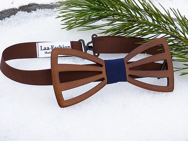 галстук бабочка из дерева, подарок на деревянную свадьбу