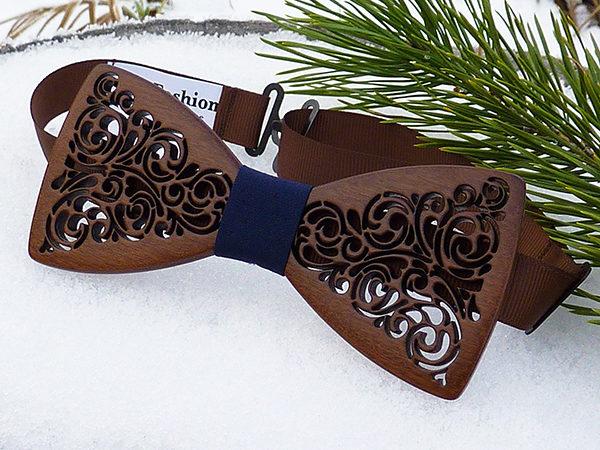 галстук бабочка из дерева купить