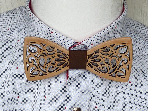 Галстук-бабочка из дерева, деревянная галстук-бабочка