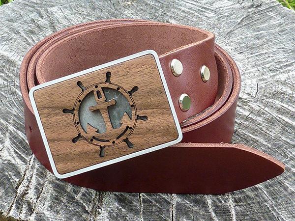 кожаный ремень с якорем
