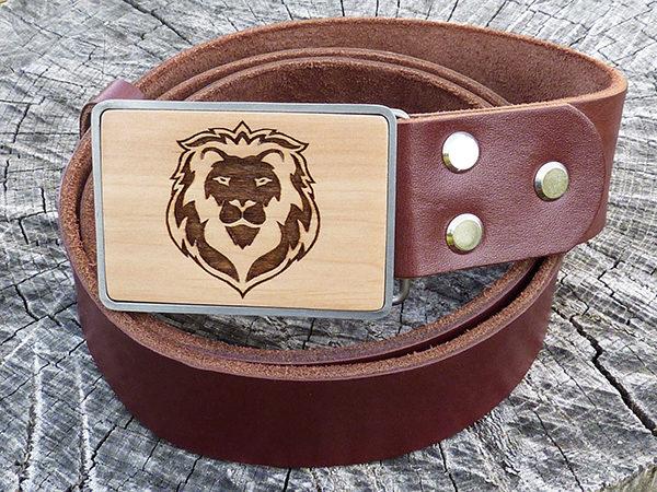 кожаный ремень лев коричневый